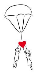 Liebe - Hochzeit - Paar am Fallschirm