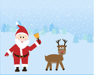 Santa with Rein deer in the snow season