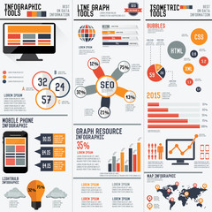 SEO and Technology info graphic design,clean vector