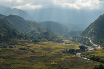 Rice Terraces and small river in Sapa, Vietnam