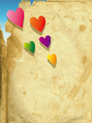 The vector illustration heart of an old paper -rainbow-