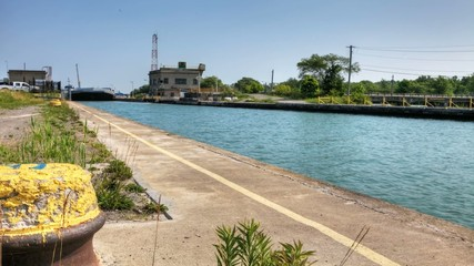 Motion controlled view of a lake freighter on the Welland Canal,