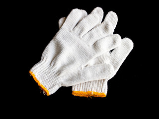 pair of butlers white gloves isolated on black with clipping pat