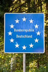 Close up of a EU (European Union) german border post on a road
