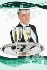 Composite image of waiter holding out tray with champagne