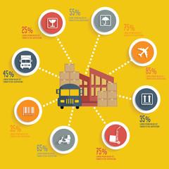 Logistic info graphic design concept
