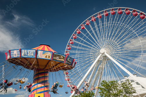 Plakat Flying chair and Ferris wheel