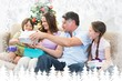 Composite image of family exchanging christmas presents