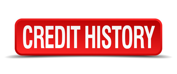 credit history red square button isolated on white background