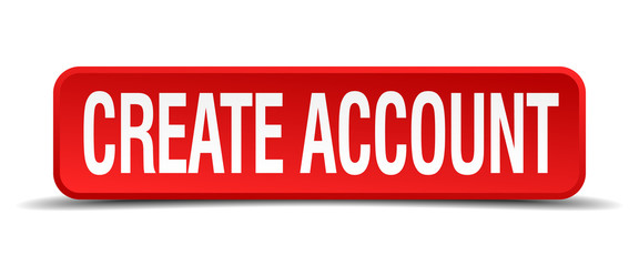 create account red square button isolated on white background