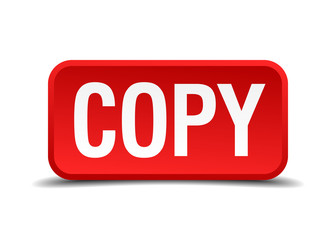 Copy red square button isolated on white background