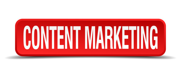 content marketing red square button isolated on white background