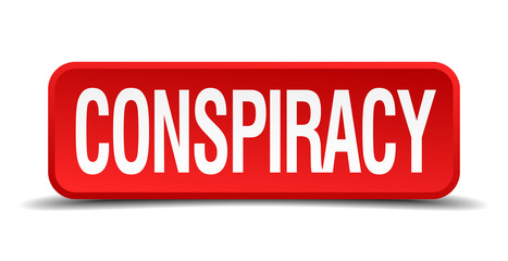 Conspiracy red square button isolated on white background