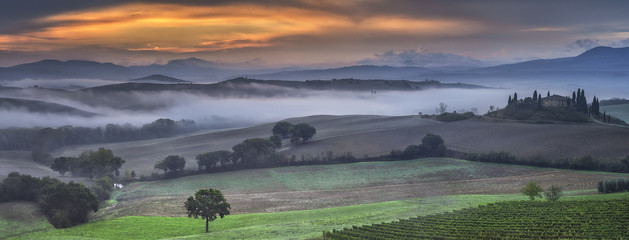 panoramic view to D`orcia valley in Tuscany