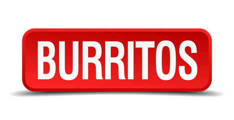 Burritos red square button isolated on white background