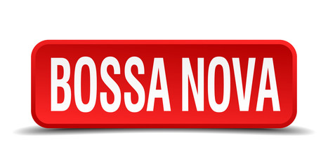 bossa nova red square button isolated on white background
