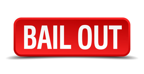bail out red square button isolated on white background