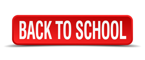 back to school red square button isolated on white background