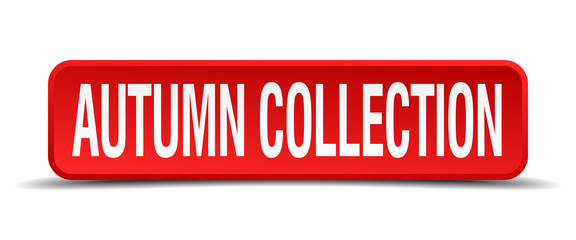 autumn collection red square button isolated on white background