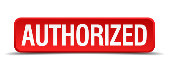 authorized red square button isolated on white background