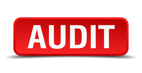 Audit red square button isolated on white background