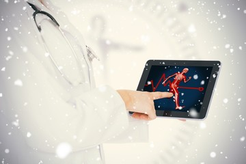 Doctor showing her tablet with body running