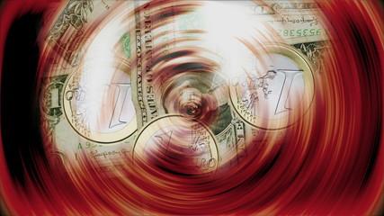 Monedas de euro y dolar  girando