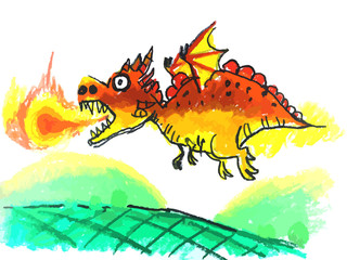 7 age child's painting the colorful dragon