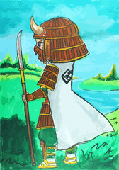white samurai painting background