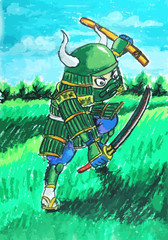 green samurai painting background