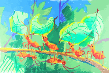 colorful ants working together painting background