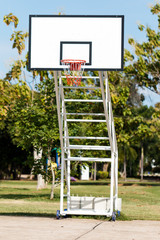 basketball hoop stand at playground in park