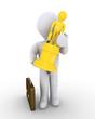 Businessman holding a trophy as a winner