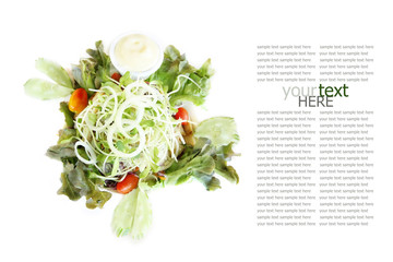 healthy food, salad recipe on white background with sample text.