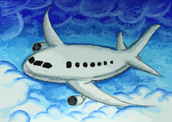 airplane in blue sky painting