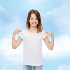 smiling little girl in white blank t-shirt