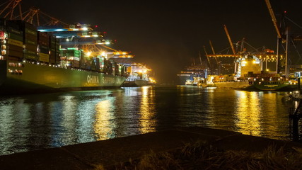 hamburg harbor with loading container ships dolly shot timelapse