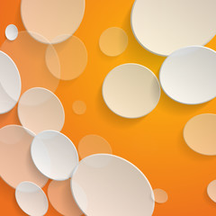 White circles on orange background - vector illustration