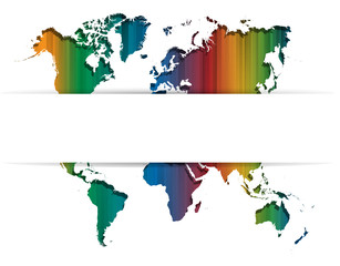 Colourful straight lines background with World map