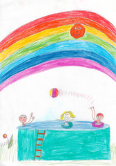 Kids playing ball in pool under the rainbow. Kid's drawing