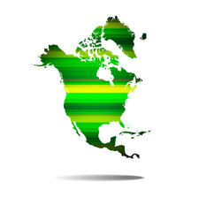Green straight lines.North america map background.