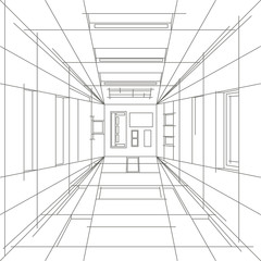 Linear sketch of abstract view of interior