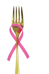 Fork with pink breast cancer awareness ribbon isolated on white