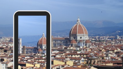 Tablet, smartphone taking picture of Florence Italy