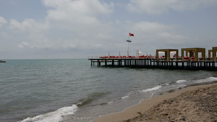 The pier near beach at the luxury hotel, Antalya, Turkey