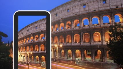 Tablet, smartphone taking picture of Colosseum Italy