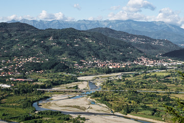 Lunigiana area of noth Tuscany, Italy. Landscape with mountains.