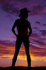 silhouette cowgirl from back