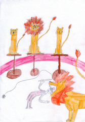 Tamer putting head in trained lions chap in circus. Kid drawing