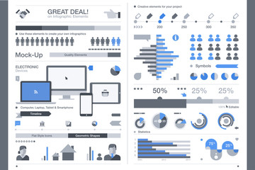 Set of flat devices with infographic elements